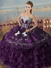 Romantic Purple Ball Gowns Sweetheart Sleeveless Satin and Organza Floor Length Lace Up Embroidery Quinceanera Gown