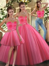 Sexy Tulle Sleeveless Floor Length Ball Gown Prom Dress and Beading