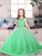 Green Ball Gowns Scoop Sleeveless Tulle Floor Length Backless Lace and Appliques Pageant Dresses