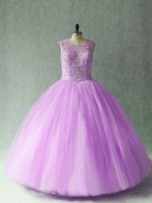 Scoop Sleeveless 15 Quinceanera Dress Floor Length Beading Lilac Tulle