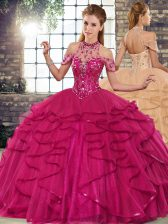 Pretty Sleeveless Floor Length Beading and Ruffles Lace Up Ball Gown Prom Dress with Fuchsia