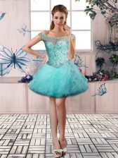 Ball Gowns Prom Dresses Aqua Blue Off The Shoulder Tulle Sleeveless Mini Length Lace Up