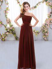 Custom Design Brown Zipper Quinceanera Court of Honor Dress Ruching Sleeveless Floor Length