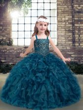 Teal Sleeveless Beading and Ruffles Floor Length Child Pageant Dress