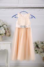 Lace and Belt Toddler Flower Girl Dress Peach Zipper Sleeveless Floor Length