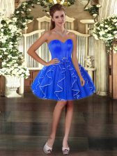 Spectacular Mini Length Ball Gowns Sleeveless Blue Prom Gown Lace Up