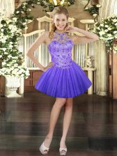 Lavender Sleeveless Tulle Lace Up Prom Party Dress for Prom and Party
