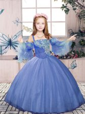 Modern Purple Straps Neckline Beading Little Girl Pageant Dress Sleeveless Lace Up