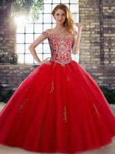 Ball Gowns Quinceanera Dresses Red Off The Shoulder Tulle Sleeveless Floor Length Lace Up