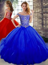 Elegant Royal Blue Lace Up 15 Quinceanera Dress Beading and Ruffles Sleeveless Floor Length