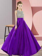 Elegant Scoop Sleeveless Elastic Woven Satin Prom Party Dress Beading Backless