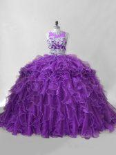 Graceful Purple Organza Zipper Scoop Sleeveless Sweet 16 Quinceanera Dress Brush Train Beading and Ruffles