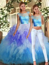 Gorgeous Floor Length Two Pieces Sleeveless Multi-color Quinceanera Dresses Backless