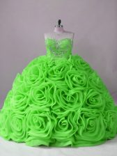 Sweetheart Sleeveless Fabric With Rolling Flowers Quinceanera Gown Beading Brush Train Lace Up
