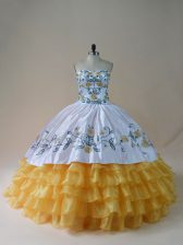 Fitting Floor Length Yellow And White Vestidos de Quinceanera Sweetheart Sleeveless Lace Up