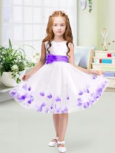 White A-line Appliques and Belt Flower Girl Dress Zipper Tulle Sleeveless Knee Length