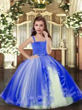 Beading Little Girls Pageant Dress Wholesale Blue Lace Up Sleeveless Floor Length