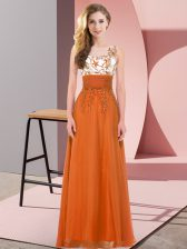 Edgy Scoop Sleeveless Backless Dama Dress for Quinceanera Orange Red Chiffon
