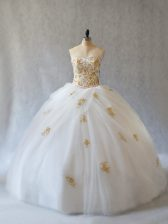 Decent Tulle Sweetheart Sleeveless Brush Train Lace Up Appliques 15 Quinceanera Dress in White