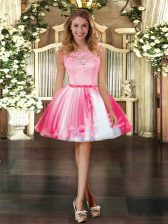 Fancy Scoop Sleeveless Zipper Prom Dresses Coral Red Tulle