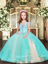 Aqua Blue Sleeveless Beading Floor Length Girls Pageant Dresses