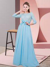 Fashion Baby Blue Side Zipper Scoop Lace and Belt Dama Dress Chiffon 3 4 Length Sleeve