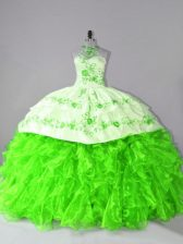 Sleeveless Organza Court Train Lace Up Quinceanera Dresses for Sweet 16 and Quinceanera