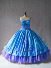 Blue Sleeveless Satin and Organza Lace Up Sweet 16 Dress for Sweet 16 and Quinceanera