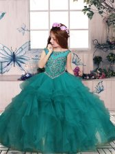Stylish Turquoise Sleeveless Organza Zipper Pageant Dress for Teens for Party and Sweet 16 and Wedding Party