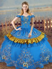 Attractive Sleeveless Lace Up Floor Length Embroidery Quinceanera Dress