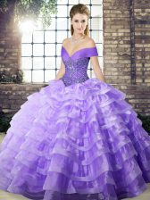 Customized Organza Off The Shoulder Sleeveless Brush Train Lace Up Beading and Ruffled Layers Sweet 16 Dresses in Lavender