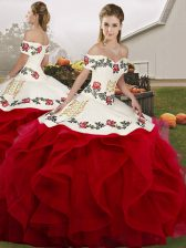 Custom Fit White And Red Sleeveless Tulle Lace Up Quinceanera Dress for Military Ball and Sweet 16 and Quinceanera