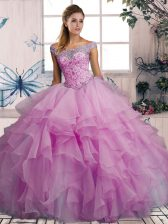 Simple Lilac Lace Up Off The Shoulder Beading and Ruffles Quinceanera Gown Organza Sleeveless