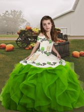 Latest Organza Straps Sleeveless Lace Up Embroidery and Ruffles Child Pageant Dress in Green
