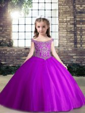 Trendy Sleeveless Lace Up Floor Length Beading Little Girls Pageant Gowns