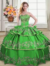 Pretty Floor Length Ball Gowns Sleeveless Green Vestidos de Quinceanera Lace Up