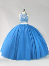 New Style Strapless Sleeveless Backless 15th Birthday Dress Blue Tulle