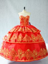 Sumptuous Floor Length Red Ball Gown Prom Dress Satin and Organza Sleeveless Embroidery and Ruffled Layers