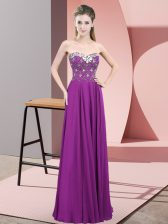 Floor Length Zipper Prom Dress Purple for Prom and Party with Beading