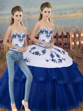 Unique Royal Blue Sleeveless Tulle Lace Up Vestidos de Quinceanera for Military Ball and Sweet 16 and Quinceanera
