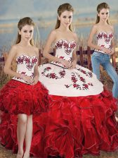 Clearance Sweetheart Sleeveless Lace Up Quinceanera Gown White And Red Organza