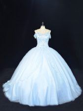 Eye-catching Blue Off The Shoulder Neckline Beading Ball Gown Prom Dress Sleeveless Lace Up