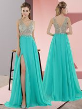 Admirable Turquoise Empire Chiffon V-neck Sleeveless Beading Zipper Evening Dress Sweep Train