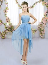 Blue Lace Up Sweetheart Beading Quinceanera Court Dresses Chiffon Sleeveless