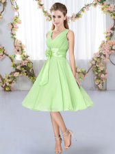 Glamorous Yellow Green V-neck Neckline Hand Made Flower Quinceanera Court Dresses Sleeveless Lace Up