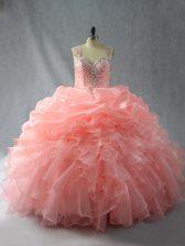 Beauteous Peach Zipper Straps Beading and Ruffles and Pick Ups Sweet 16 Dress Organza Sleeveless