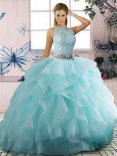 Scoop Sleeveless Zipper Quinceanera Gown Aqua Blue Tulle