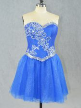 Lovely Sleeveless Tulle Mini Length Lace Up Prom Party Dress in Blue with Beading