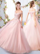 Eye-catching Pink Sleeveless Tulle Lace Up Damas Dress for Wedding Party
