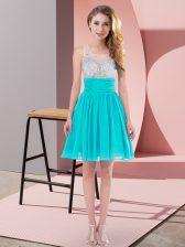 Flare Mini Length Aqua Blue Quinceanera Court Dresses Chiffon Sleeveless Beading